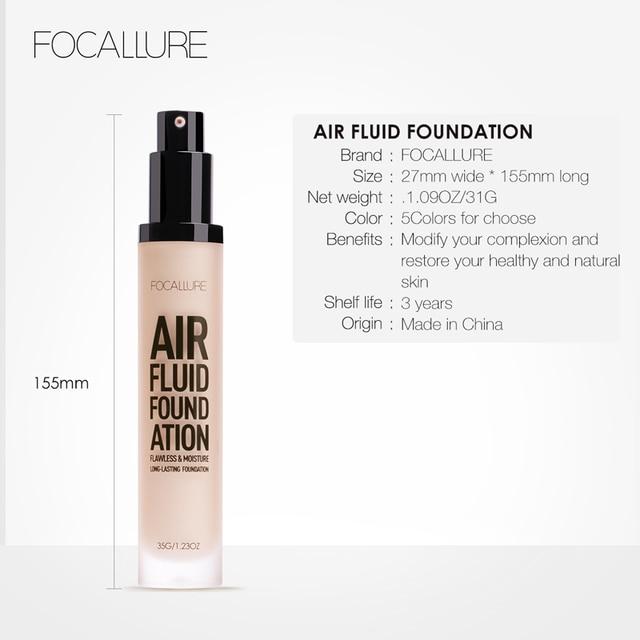 FOCALLURE New AIR FLUID FOUNDATION Moisturizing Natural Foundation Base Long Lasting Waterproof Women Makeup 5