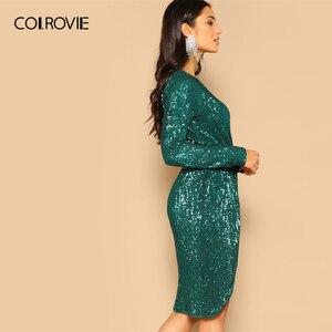 Image 3 - COLROVIE Green Twist talia tulipan Hem cekinowa sukienka na przyjęcie kobiety 2019 wiosna z długim rękawem elegancka obcisła sukienka Sexy Midi sukienka