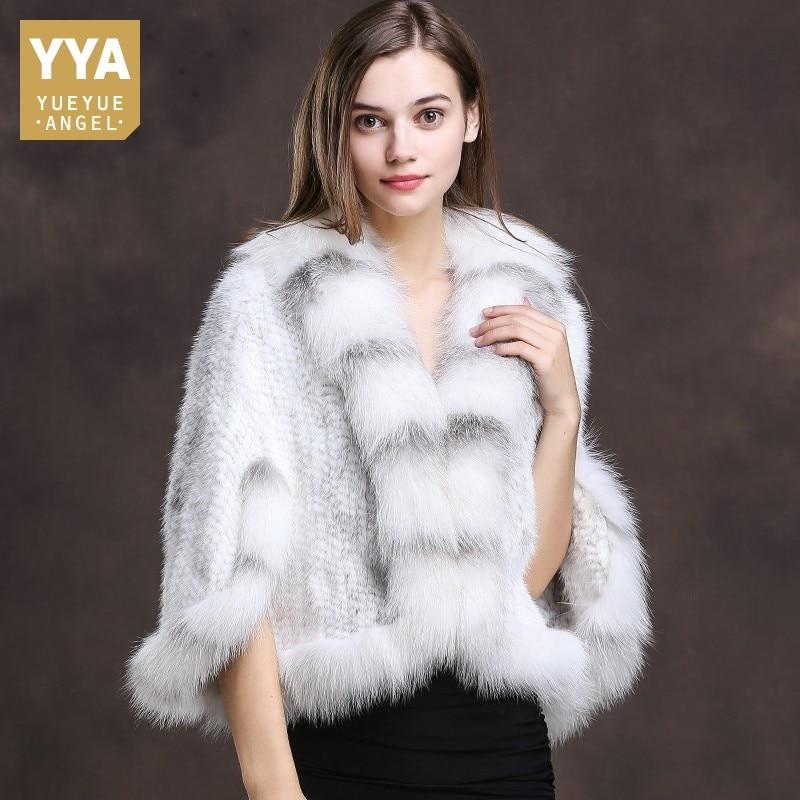 Winter Luxury Batwing Sleeve Real Fox Fur Collar Shawl Coat Female Natural Mink Fur Knitted Coat Cloak Jacket Women's Clothing