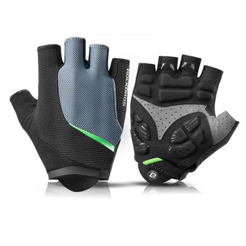 1Pair Rockbros Cycling Gloves Men 39 s Half Finger Silicone Gel Thickened Pad Shockproof Breathable MTB Bicycle Bike Short Gloves in Cycling Gloves from Sports amp Entertainment