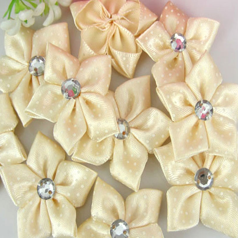 40 Pcs Crystal Rhinestone Decoration Satin Ribbon Flower Appliques Crafts Beige