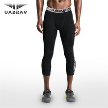 UABRAV Black  Mens Running Tights Compression Sport Leggings Gym Fitness Sportswear Training Yoga Pants for Men Capri Trousers