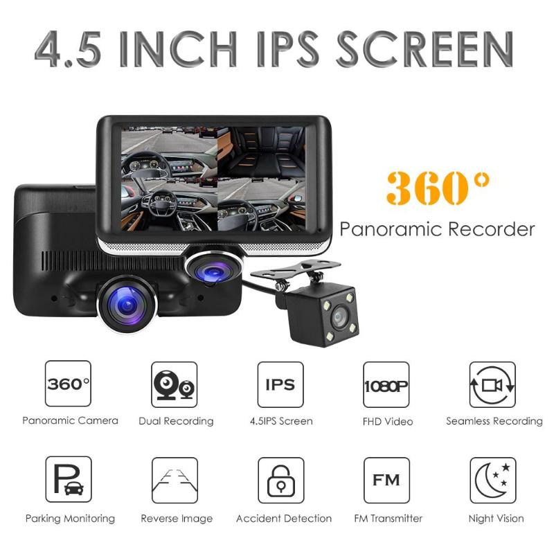 Car DVR Dashboard-Camera G-Sensor-Recorder Dual-Lens Ips-Screen Panoramic Driving Night-Vision