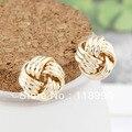 Nuevo 18 K oro verdadero plateó Twisted Wrap pendientes de la joyería joyería de calidad superior para mujeres venta al por mayor 3 par/lote