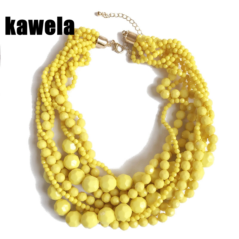 Free Shipping Yellow Statement Acrylic Beads Braided Choker Necklace