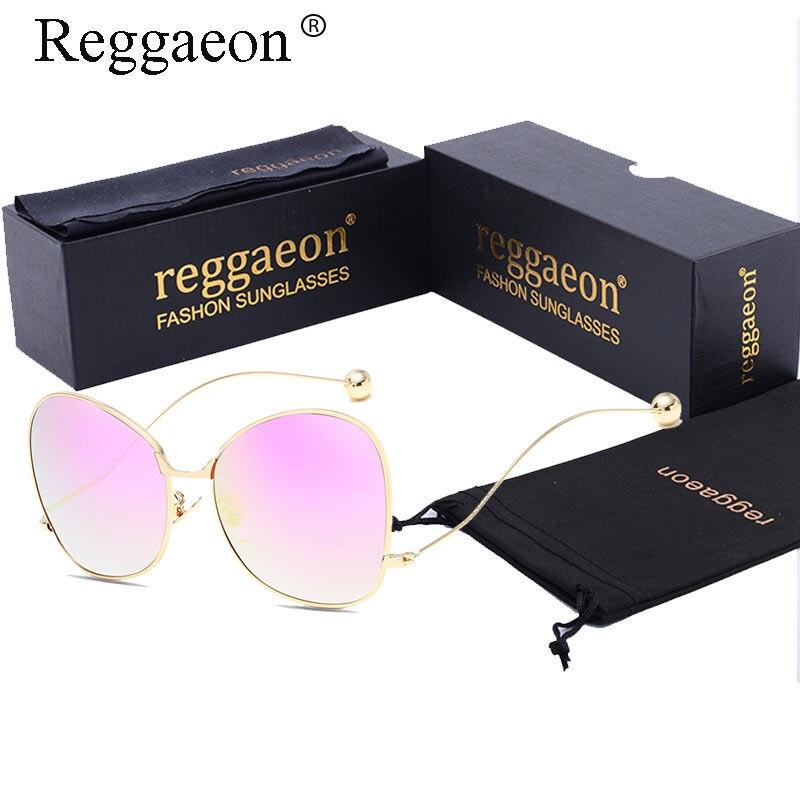 reggaeon Oversized Blue pink Mirrored Gradient Sunglasses Women Stylish Steel Ball Metal Eyewear Shades oculos lunette femme