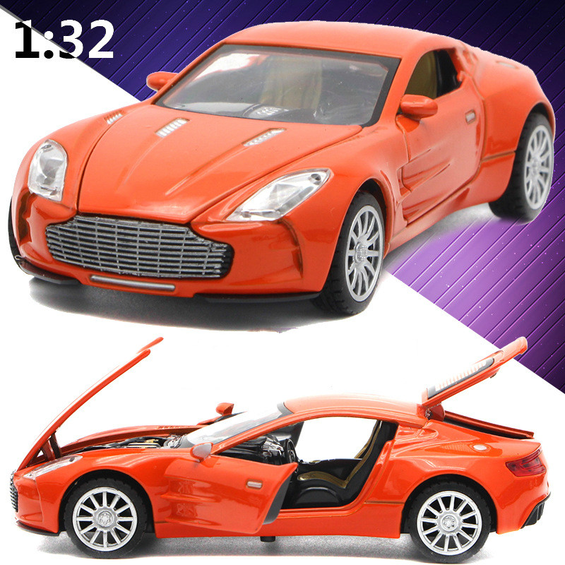 For Aston Martin Alloy Car Model Super Racing Auto Mobile Light Sound Pull Back Four Open Door Sports Car Model Children's Toy