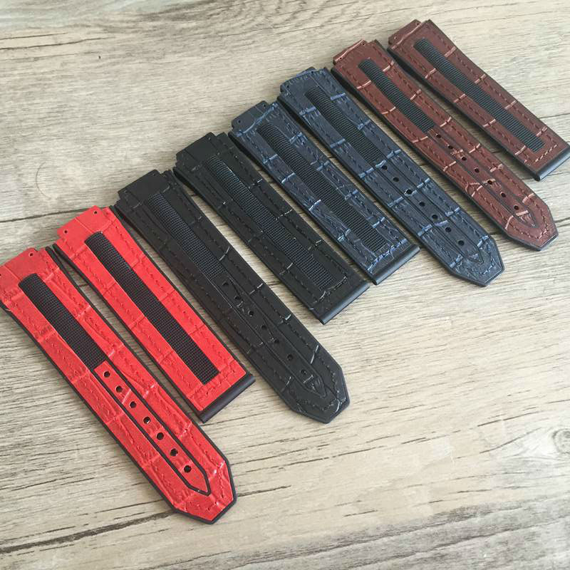 The latest retro handmade leather strap leather strap for HUBLOT Hengbao 25MM colorful men's watch strap accessories colorful pu leather strap for bag accessories handle with metal clasp for diy purse 10pcs lot