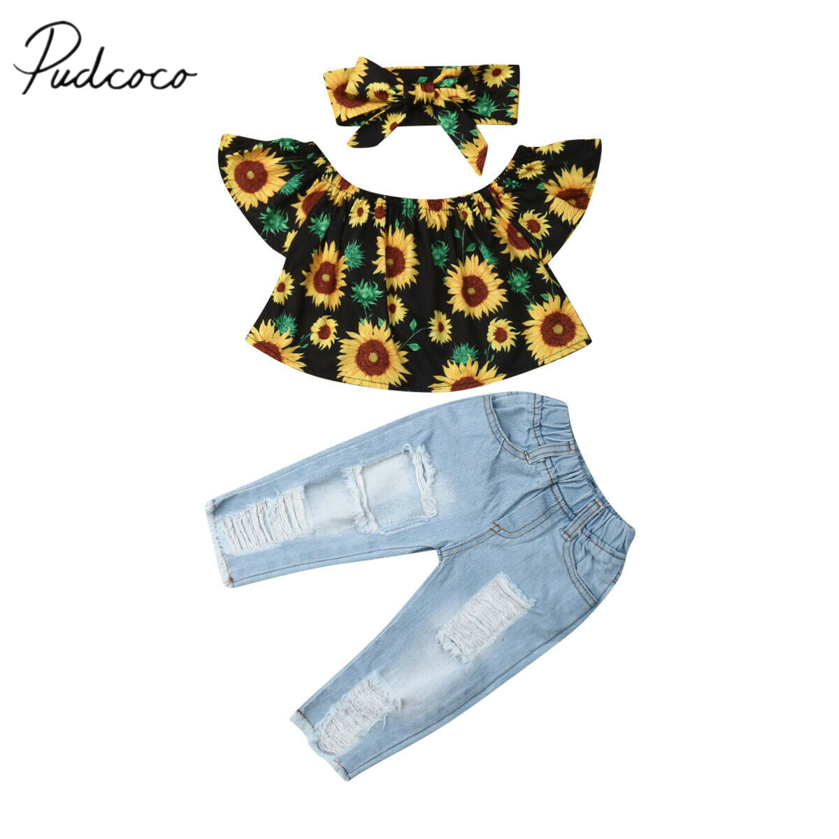 19a00407fa6a8 2019 Baby Summer Clothing Toddler Kids Baby Girl 3PCS Sets Sunflower Tops+ Ripped Hole Denim