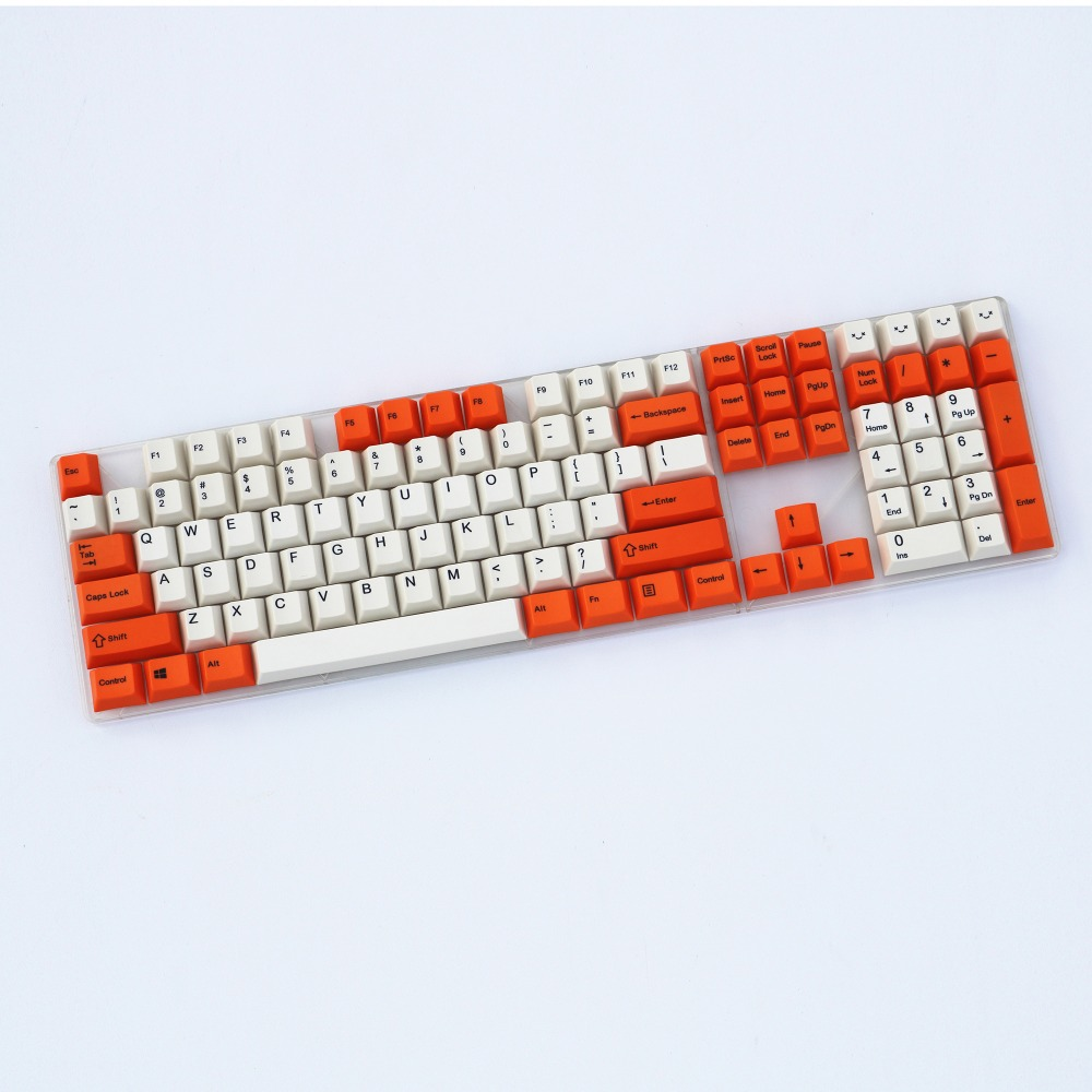 Orange/Beige 110 keys dye sublimated print pbt keycap for mechanical keyboard Cherry Filco Ducky keycap Cherry profile blue and gray mix keycap 108 keys pbt cherry profile dye sublimated mx switch for mechanical keyboard keycap not a keyboard