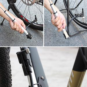 Bicycle Air Supply Inflator Single And Double Cylinder Pump To Inflate Fork Shock With Barometer Gauge Bleeder Foldable Hose