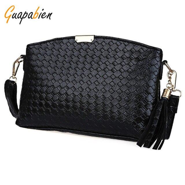 Guapabien vintage women small plaid tassel black handbags fashion zipper  clutches ladies party purse shoulder messenger 6c2316bf10433