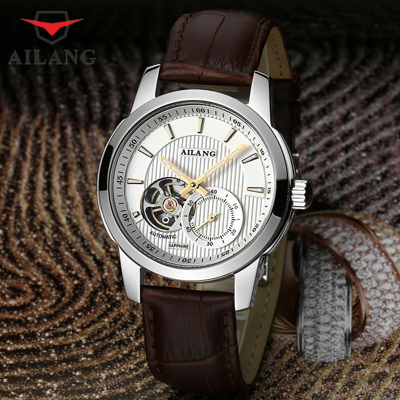 AILANG Business Men Black Wrist Wtaches Leather Strap Brand Luxury Hombre Full Steel Automatic Watches Relogio A066 đồng hồ binger bg54