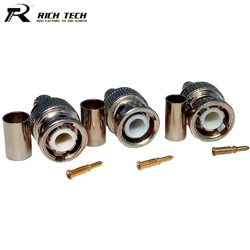 10pcs/lot BNC Male Crimp Type Connector for CCTV Systems Female Coupler Connector BNC RG58/RG59/RG6 RICH TECH Wholesale цены онлайн