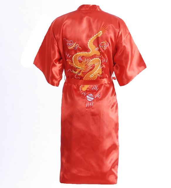 Новое поступление красный традиционной китайской одежде мужские пижамы вышивки сатинировки кимоно ванна платье дракон размер sml XL XXL S0103-C