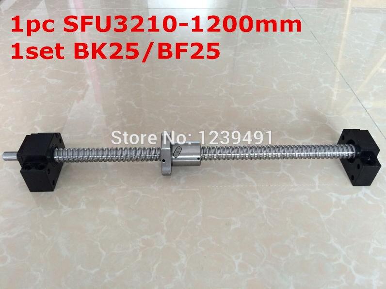 SFU3210-1200mm vite a sfere con fine lavorazione + BK25/BF25 Supporto parti CNCSFU3210-1200mm vite a sfere con fine lavorazione + BK25/BF25 Supporto parti CNC