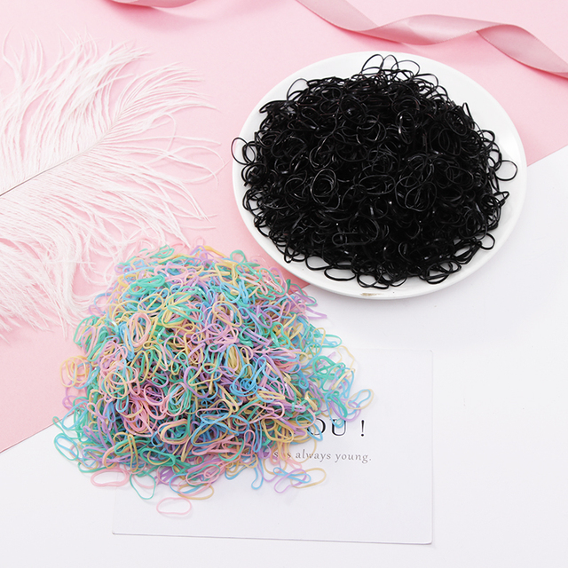 200/1000PCS Cute Girls Colourful Ring Disposable Elastic Hair Bands