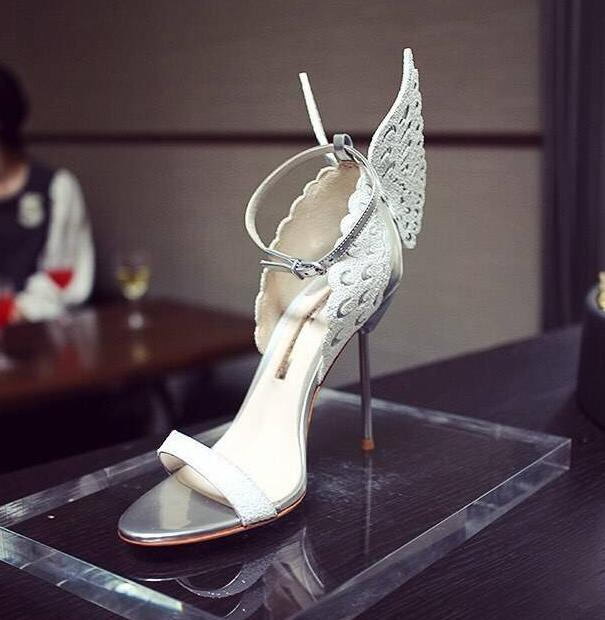 Top Quality White Silver Butterfly Wing Bridal Sandal High Quality Stiletto Heel Metallic Toe Strap Summer Dress Shoes Women