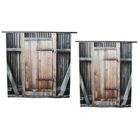 NEW Wooden Door Exterior Facades Rural Barn Timber Weathered Picture Polyester Fabric Bathroom Shower Curtain Set
