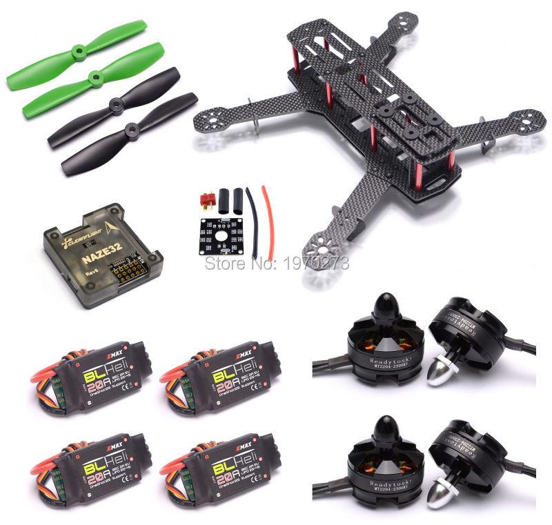 ZMR250 250mm Frame Kit Carbon Fiber Naze32 Rev6 & MT2204 2300kv 2204 20A BLHeli ESC For Mini Quadcopter QAV250