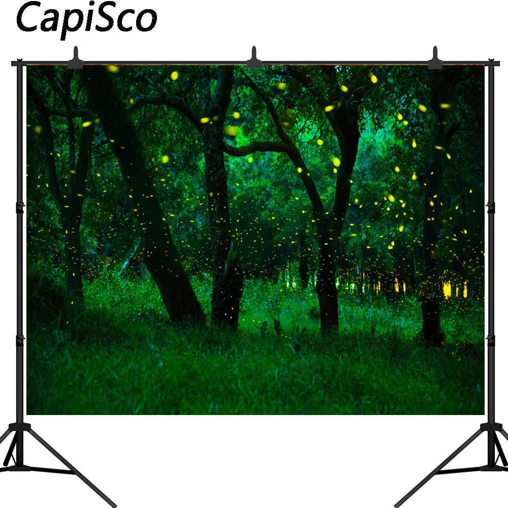 Capisco фотография Декорация-лес светлячки мечта Сказочный фон для студийной детской фон для фото виниловый Фотофон