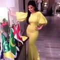 2017 Vestidos Longos Yellow Half Sleeves Mermaid Celebrity Dresses Floor-Length Sweep Train Long Prom Dresses