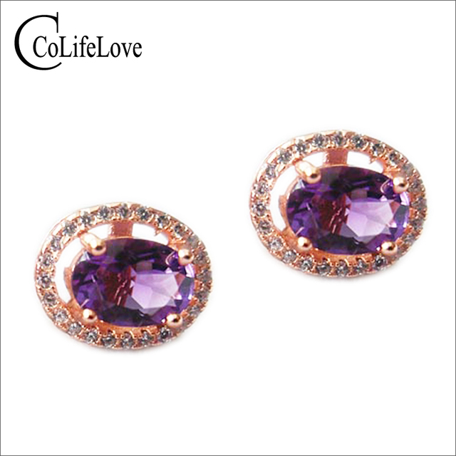 Fashion silver stud earrings for woman solid 925 silver earring with 5*7mm natural amethyst silver classic amethyst earings