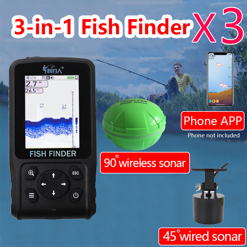 Free Shipping Hot Sale2019 degisn Wire Wireless APP Portable Sonar Colorful LCD Fish Finder Fishing lure
