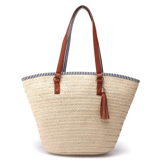 Grande Sacola de Palha simples Armadura de borla saco tecido Bolsa de Ombro Mulheres Verão Praia Saco Bolsa de Viagem Bolsa Da Senhora