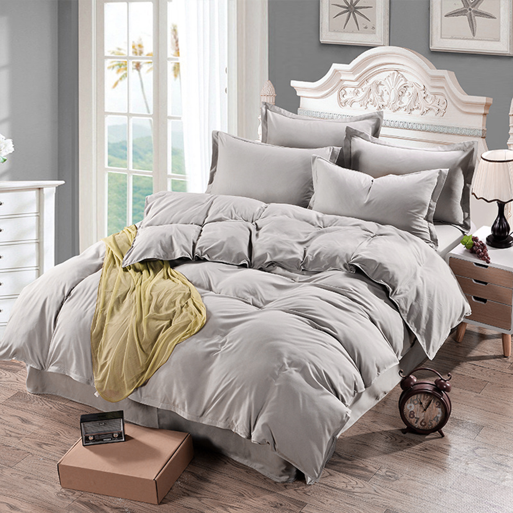 Plain Duvet Cover Quilt bed Cover Comforter Bedding Sets Single Double King Size Family Adults Children cotton satin Quilted
