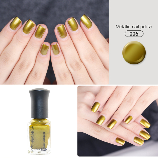 Metallic Long Lasting 6ML Golden Color Nail Polish Mirror Lacquer ...