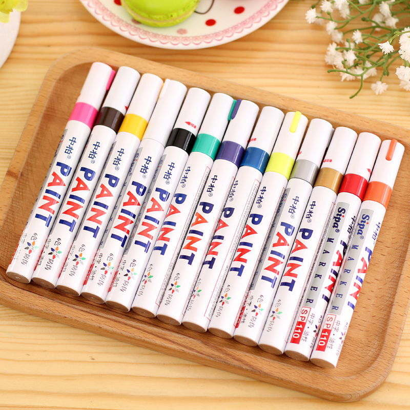 13 Colors Permanent Marker Pen Colorful Waterproof Metal Oilly Fill Paint For School DIY Tyre Tire Tread CD Metal Paint Markers kitsan30001san63705 value kit sanford uni paint marker san63705 and sharpie permanent marker san30001