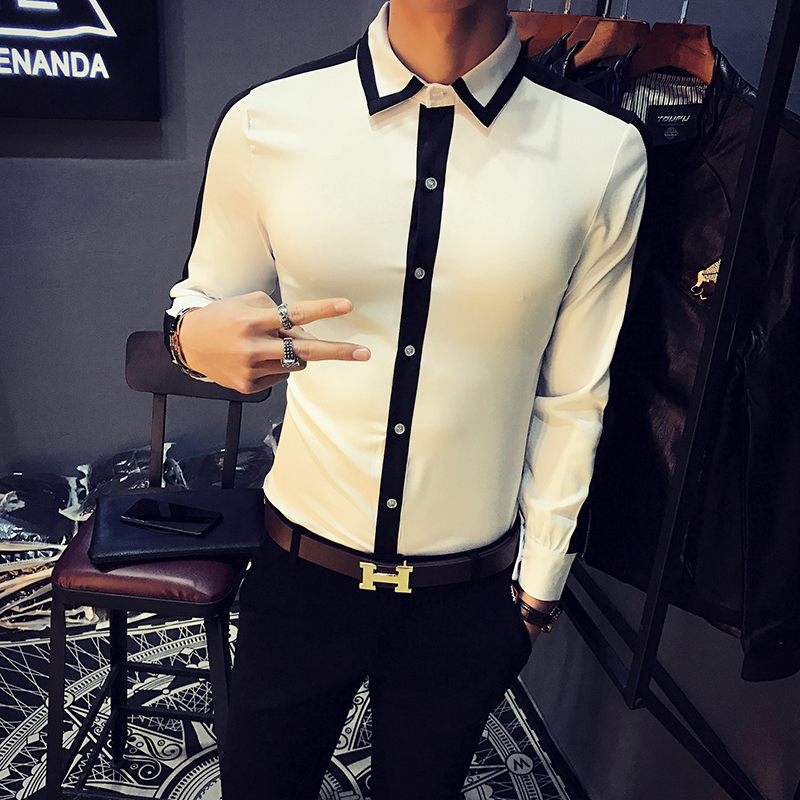 Fashion Designer Shirt Men 2018 Spring New Slim Fit Long Sleeve Dress Shirts Mens Casual Business Social Work Shirt Male White