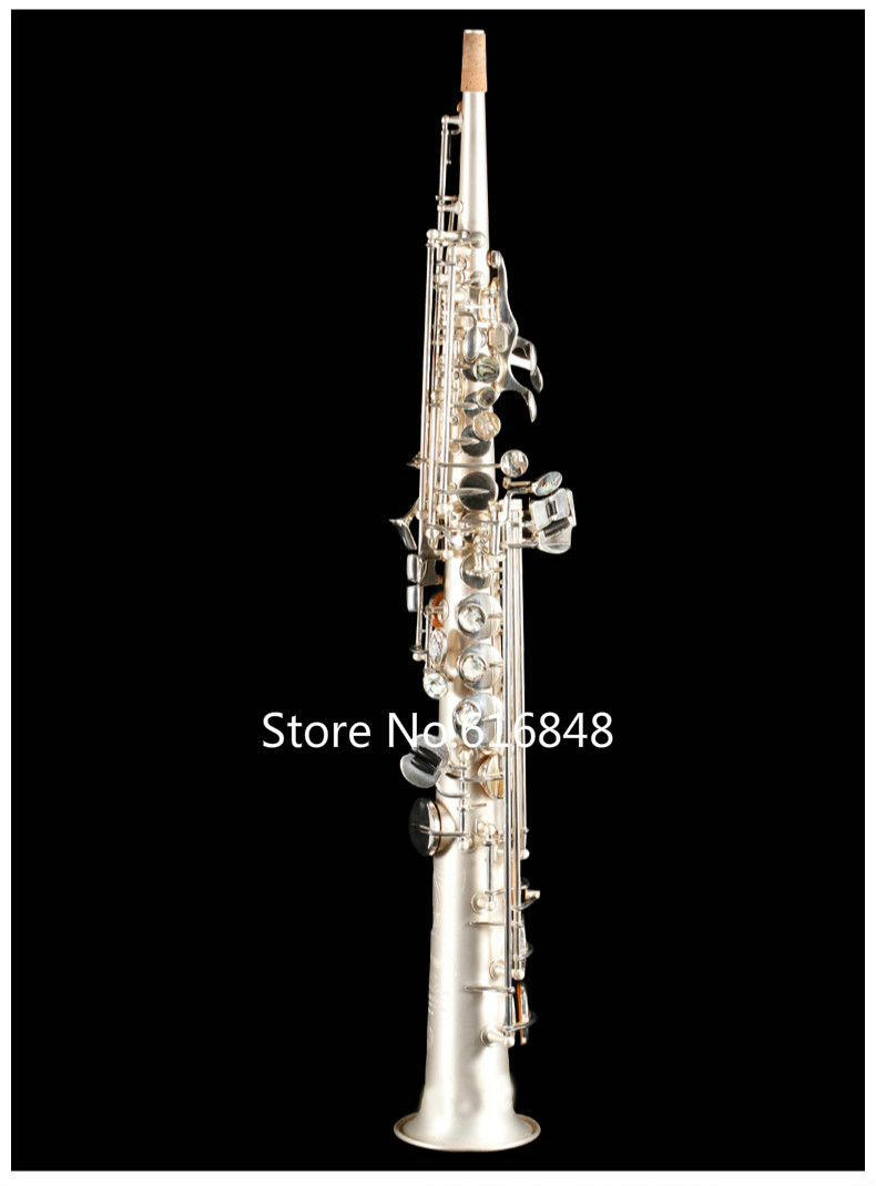 High Quality Saxophone Rollinsax RSS-X6 Silver Plated B(B) Tune Soprano Saxophone Instrument Drop B Sax With Mouthpiece And Case tenor saxophone free shipping selmer instrument saxophone wire drawing bronze copper 54 professional b mouthpiece sax saxophone