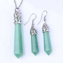 FYJS Unique Party Gift Silver Plated Jewelry Sets Hexagon Prism Necklace Natural Green Aventurine Earrings