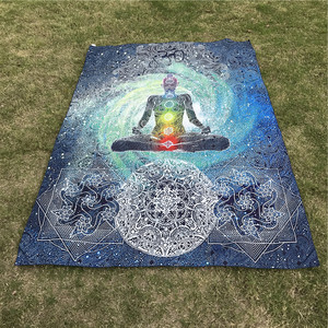 Image 2 - Two Size 200cm Bohemian 7 Chakra Tapestry Wall Hanging Cloth Bedspread Dorm Cover Home Decorative Rug Picnic Mat Beach Mat