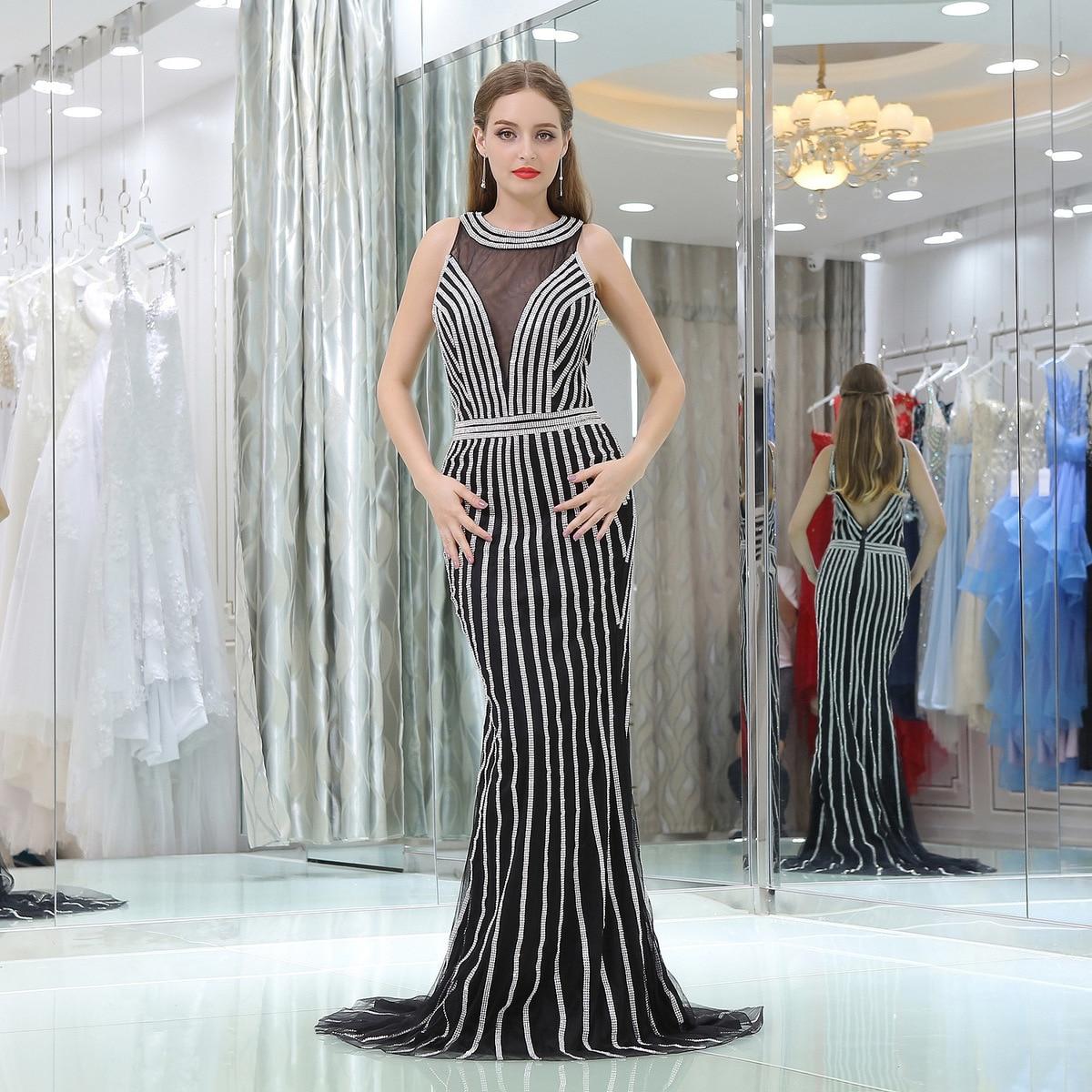 New Black Prom dresses Mermaid Vestidos de fiesta dress for graduation Beading Sweep Train Evening Prom Dress Two Pieces Gown