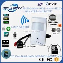 940NM IR Led Audio&Video CCTV P2P Onvif 720P IP Pinhole WIFI Camera PIR STYLE Motion Detector IR IP Wireless Camera With SD Card