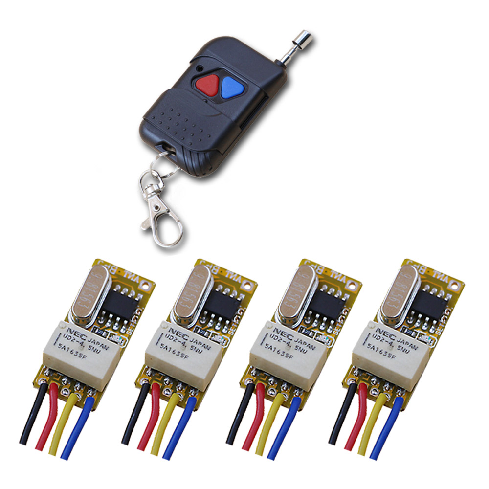 New DC3.5V 5V 7V 9V 12V Relay 1CH Wireless RF Mini Remote Control Switch Transmitter + 4pcs Receiver Light Switch Accessaries купить