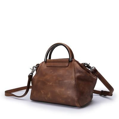 все цены на Vintage Designer Genuine Leather Women Small Red Purse Metal Handle Bag Natural Cowhide Female Cross Shoulder Bag Ladies Handbag онлайн