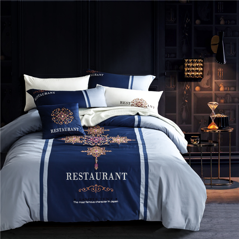 blue Embroidered bedding sets soft Chinese Style 4pcs bedlinens 100%  Cotton fiber Queen duvet cover blue Embroidered bedding sets soft Chinese Style 4pcs bedlinens 100%  Cotton fiber Queen duvet cover