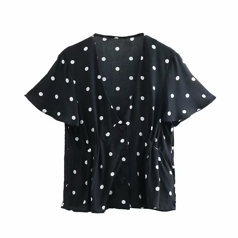 Shirt Hot-Sale Fashion European And American Print Qujing 35-8059 Baitie V-Collar