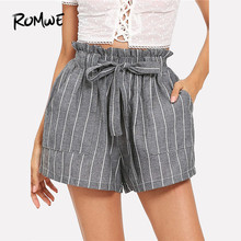 ROMWE Self Tie Waist Striped Shorts Women Elastic Waist Shorts 2019 New Korean Style Grey Fitness Mid Waist Summer Belted Shorts(China)