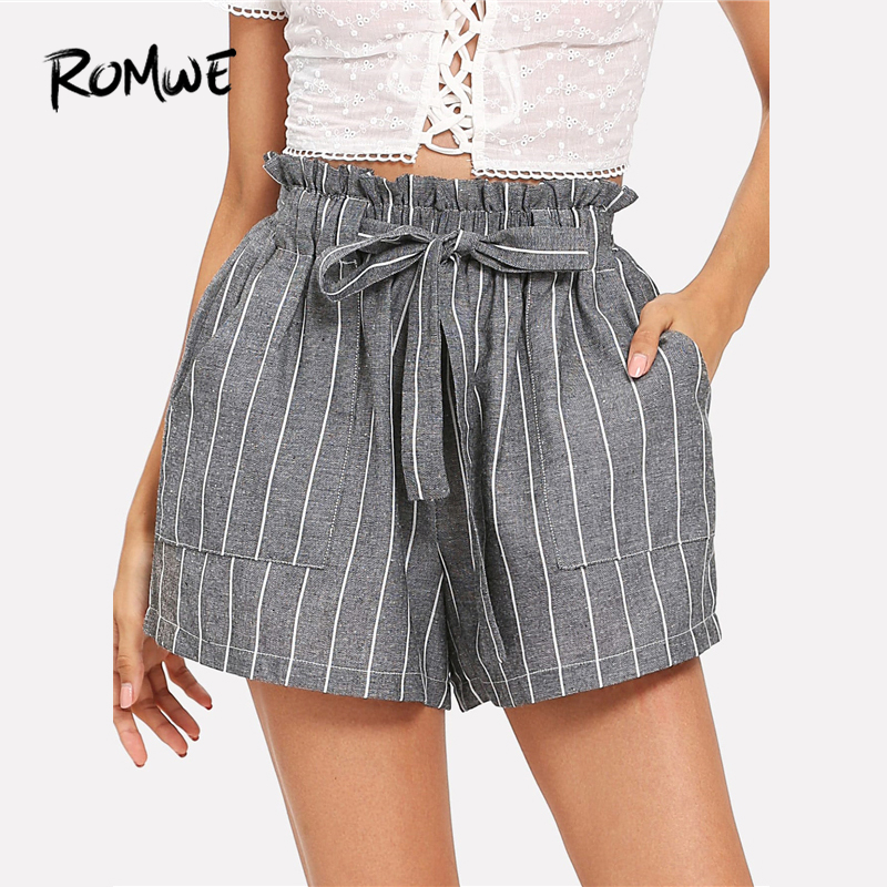 ROMWE Self Tie Waist Striped   Shorts   Women Elastic Waist   Shorts   2019 New Korean Style Grey Fitness Mid Waist Summer Belted   Shorts