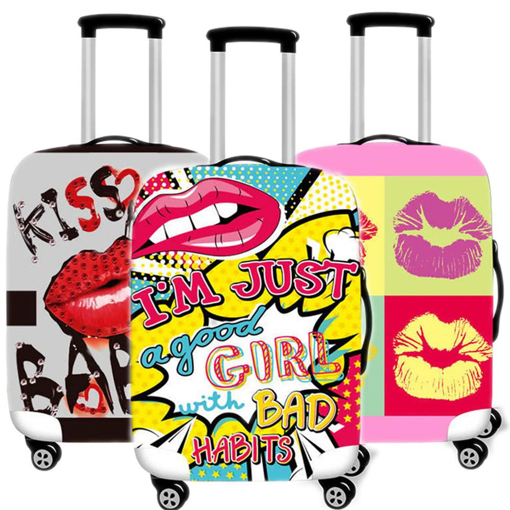 Fashion Women Red Lips Suitcase Case Protective Cover Travel Luggage Thicken Dust Accessories Suitcases Organizer 18 To 32 Inche