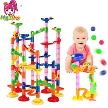 Mylitdear 105pcs Creative DIY Marble Race Run Maze Balls Track Blocks Assembly House Construction Building Bricks Toy for Kids(China)