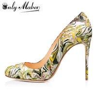 Onlymaker Diseño Zapatos de Las Mujeres Dulces de los Altos Talones de la Mujer Punta Redonda Bombea Los Zapatos de Vestido de Boda y de Noche