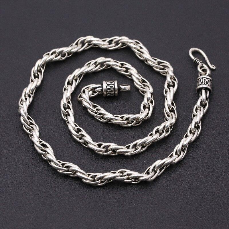Диаметр 6 мм, серебро 925 Цепочки и ожерелья Для мужчин толстые цепи 100% Настоящее Стерлинг-серебро-ювелирные изделия Для мужчин простой Дизай...