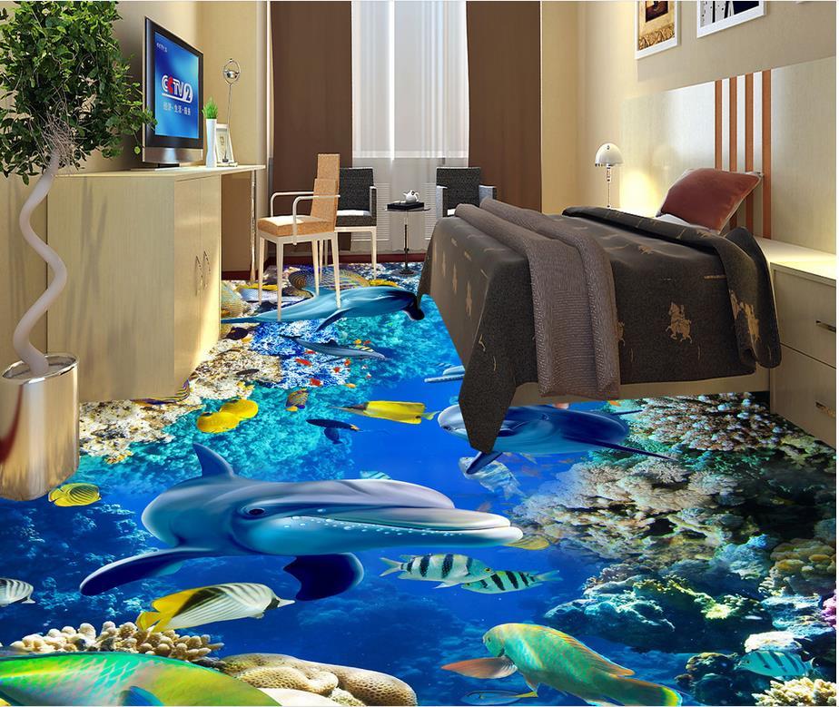 Ocean Floor wallpaper 3d for bathrooms Waterproof floor mural painting Custom Photo self-adhesive 3D floor