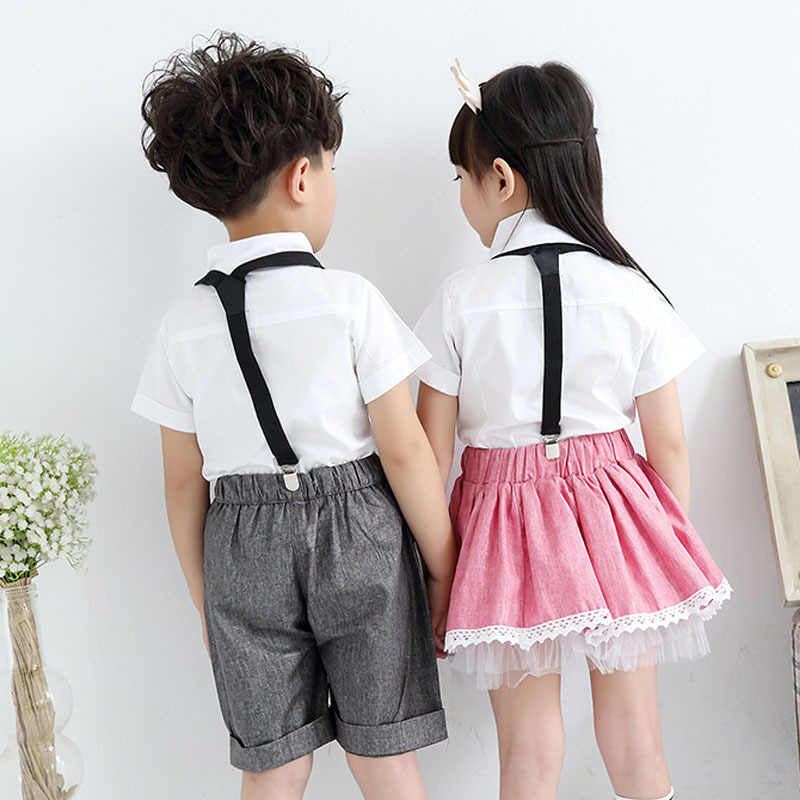 2f4cc45ed ... Children Teenager Cute Girls Boy School Uniforms Sets Bow Tie T-shirt + Half Strap ...